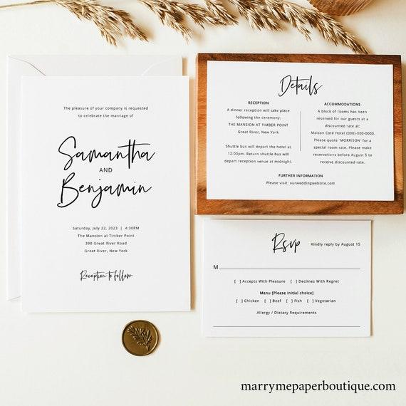 Minimalist Wedding Invitation Template Set, Modern Calligraphy, Wedding Invite, Printable, Details, RSVP, Templett INSTANT Download