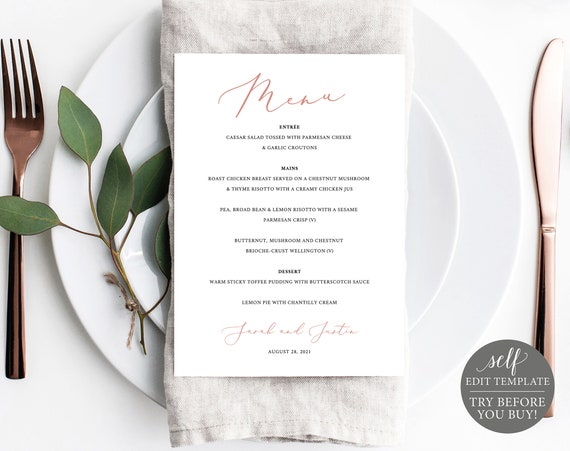 Wedding Menu Template 5x7, Elegant Rose Gold, TRY BEFORE You BUY, 100% Editable Instant Download
