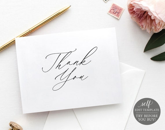 Thank You Card Template, Stylish Script Folded, Editable Instant Download, TRY BEFORE You BUY