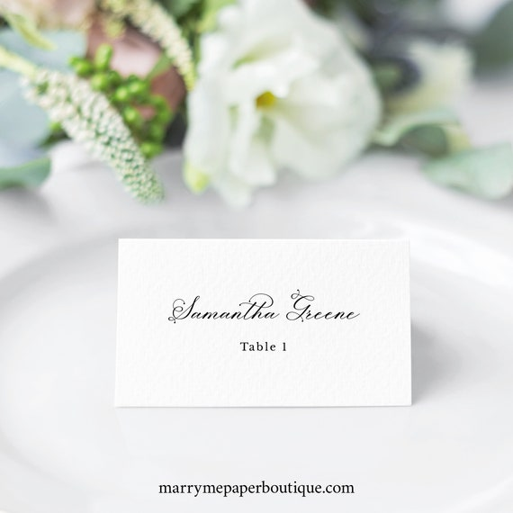 Wedding Place Card Template, Elegant Romantic Script, Flat & Tent Place Cards, Printable, Editable, Templett INSTANT Download