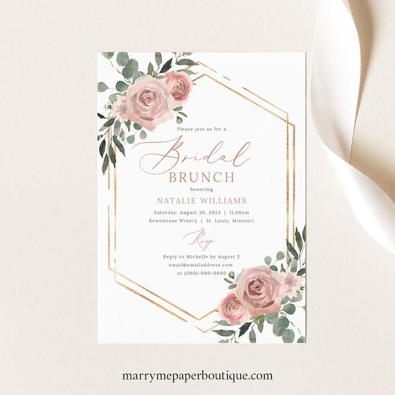 Bridal Brunch Invitation Template, Pink Floral Greenery, Boho Bridal Shower Brunch Invite, Printable, Editable, Templett INSTANT Download