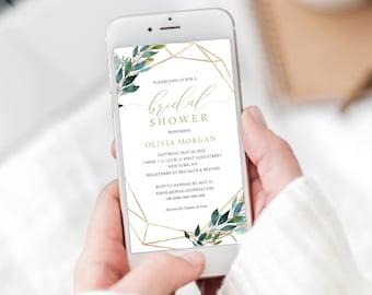 Bridal Shower Electronic Invite, Greenery Geometric, Editable Text Invitation, Instant Download, Templett