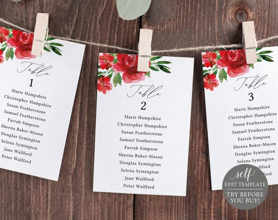Seating Cards Template, Editable Instant Download, Free Demo Available, 4x6 Red Floral