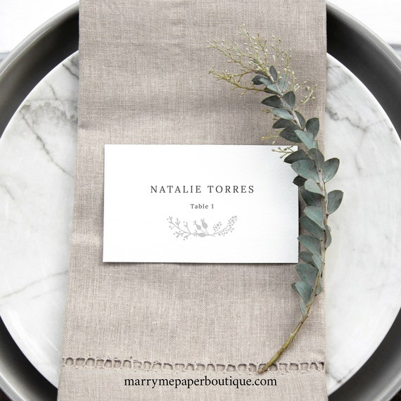 Winter Wedding Place Card Template, Botanical Wedding, Seating Card Printable, Templett, Editable, INSTANT Download