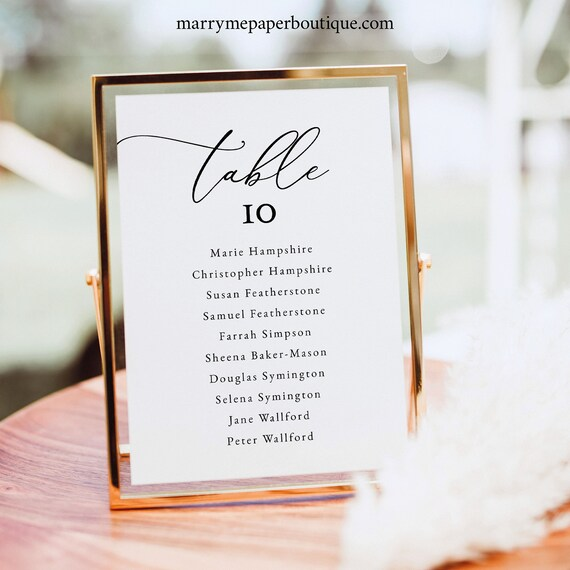 Small Seating Sign Template, Classic & Elegant, Wedding Seating Sign, 5x7, Table Seating Card, Printable, Templett INSTANT Download