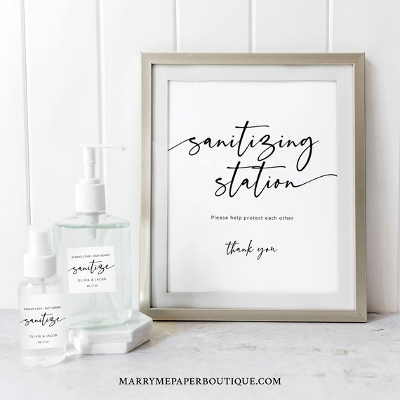 Wedding Sanitizing Station Sign & Labels Template, Modern Calligraphy, Fully Editable, Sanitizer Sign Printable, Templett INSTANT Download