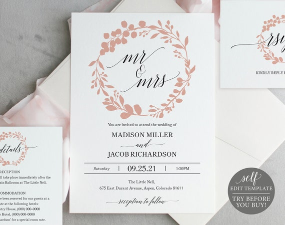 Wedding Invitation Set Templates, Mr & Mrs, TRY BEFORE You BUY, Editable Instant Download, Rose Gold Wreath
