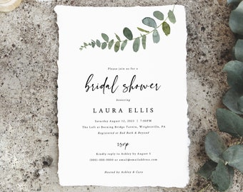 Eucalyptus Bridal Shower Invitation Template, Greenery Bridal Shower Invite Printable, Templett Instant Download, Try Before Purchase
