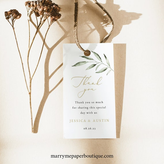 Favor Tag Template, Greenery Leaf Thank You, TRY BEFORE You BUY, Editable Instant Download