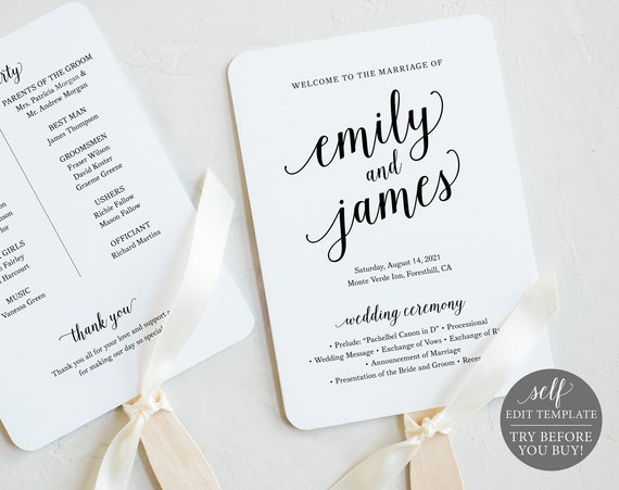 Wedding Program Fan Template, Modern Script, 100% Editable Instant Download, TRY BEFORE You BUY