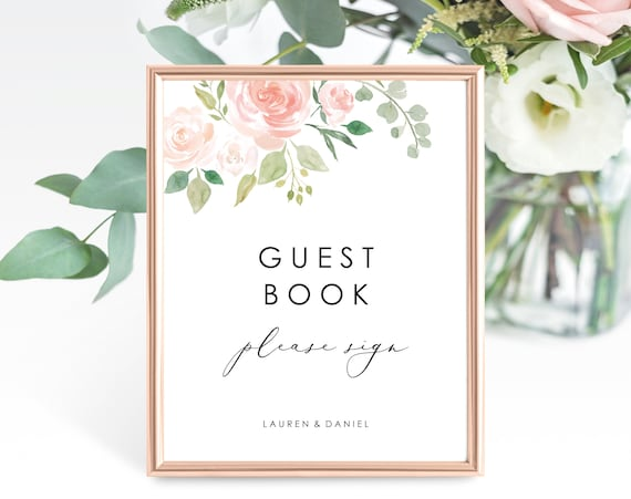 Floral Wedding Guest Book Sign Template, Printable Please Sign our Guest Book Sign, Printable Guest Book Sign, PDF Instant Download, MM08-3