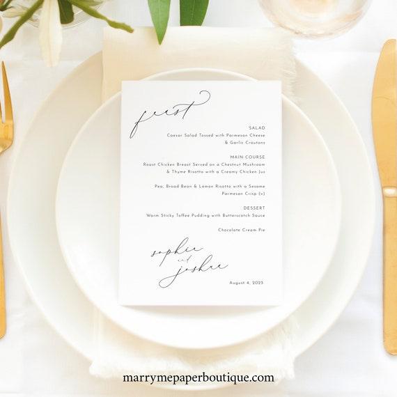 Wedding Menu Template, Luxury Calligraphy, Elegant Wedding Table Menu Card, Printable, Editable, 5x7 Menu, Templett INSTANT Download