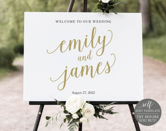 Wedding Welcome Sign Template, Modern Script Gold, Editable & Printable Instant Download, Templett, TRY BEFORE You Buy
