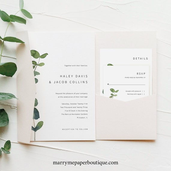 Wedding Invitation Template Suite, Pocket Fold, Elegant Eucalyptus, Modern Wedding Invite Kit, Printable, Templett INSTANT Download