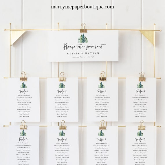 Pine Forest Seating Chart Template, Rustic Pine Trees, Wedding Seating Chart Cards, Printable, Templett Editable, INSTANT Download