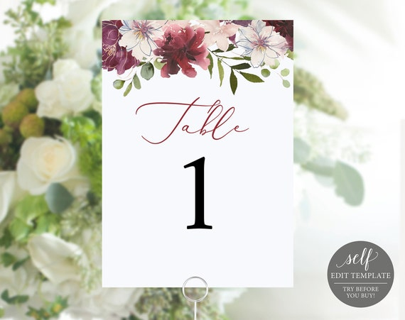 Table Number Template, 100% Editable, Elegant Wedding Table Numbers Printable, Instant Download, TRY BEFORE You BUY, Floral Burgundy