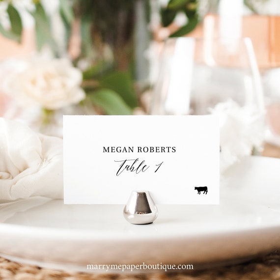Wedding Place Card Template, Elegant Rustic, Tent & Flat Versions, Fully Editable Place Card, Printable, Templett INSTANT Download