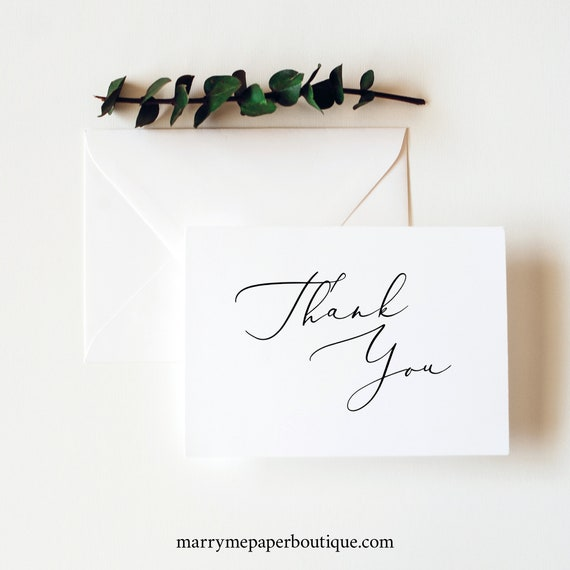 Thank You Card Template, Elegant Script, Editable Printable Instant Download, Templett, Demo Available