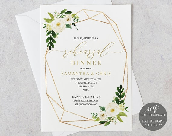 Rehearsal Dinner Invitation Template, White Floral Geometric, TRY BEFORE You BUY, Editable Instant Download