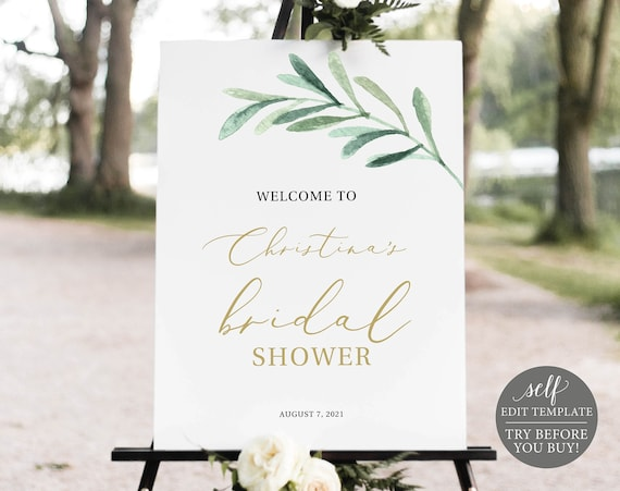 Bridal Shower Welcome Sign Template, Greenery Leaf, Printable Editable Instant Download, Demo Available