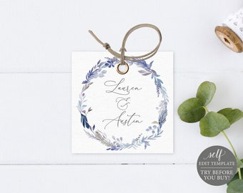 Monogram Tag Template, Lavender Blue, Editable Instant Download, TRY BEFORE You BUY