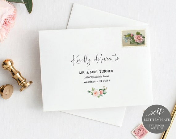 Envelope Address Template, Pink Floral Greenery, 100% Editable Instant Download, TRY BEFORE You BUY!