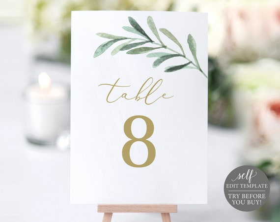 Table Number Template, Greenery Leaf, Editable Instant Download, TRY BEFORE You BUY