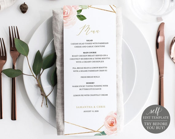 Wedding Menu Template, Blush Floral, Editable, Instant Download, TRY BEFORE You BUY