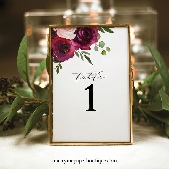 Table Number Template, Try Before You Buy, Table Number Sign Printable, Templett Instant Download, Burgundy Flowers