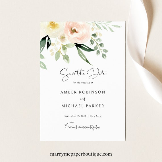 Save the Date Card Template, Pink Floral Greenery, Ivory, Save Our Date, Printable, Editable, Templett INSTANT Download
