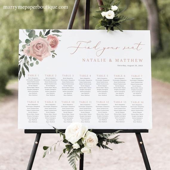 Seating Chart Template, Dusky Pink Floral, Boho Wedding Seating Plan Sign, Printable, Editable, Landscape,Templett INSTANT Download