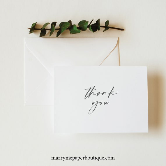 Thank You Card Template Folded, Try Before Purchase, Editable Thank You Printable, Templett Instant Download, Handwritten Style