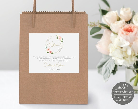 Guest Bag Label Template, Blush Pink Geometric, Order Edit & Download In Minutes, Try Before Purchase