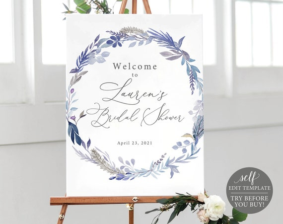 Bridal Shower Welcome Sign Template, TRY BEFORE You BUY, Self Edit Instant Download, Lavender Blue