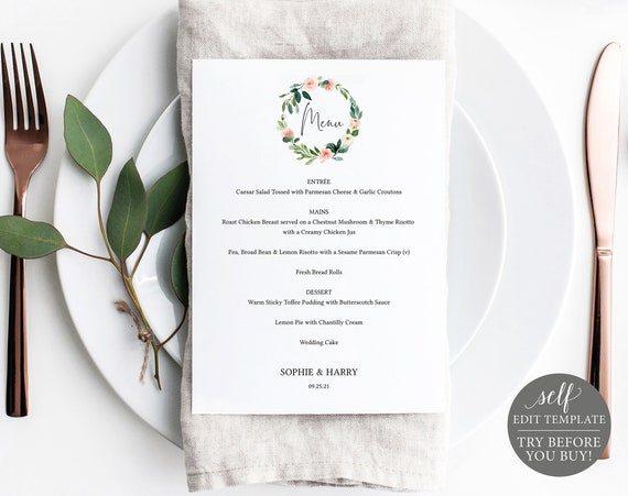 Wedding Menu Template 5x7, Blush Pink Floral Greenery, TRY BEFORE You BUY, Editable Instant Download