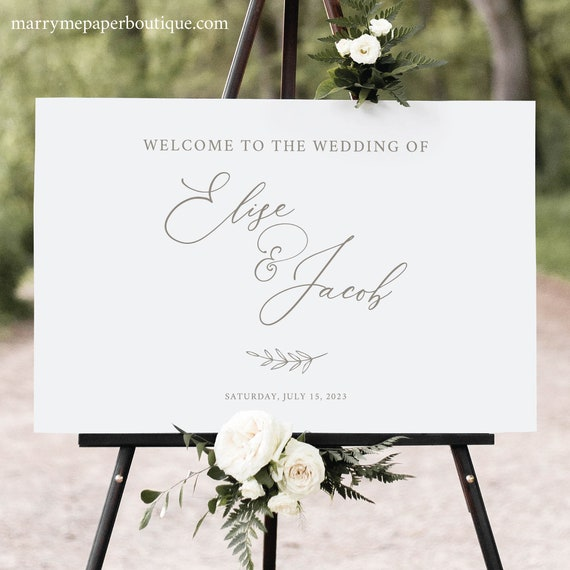 Wedding Welcome Sign Template, Elegant Font, Calligraphy, Welcome To Our Wedding Sign, Printable, Gold Leaf, Templett INSTANT Download
