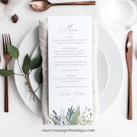 Wedding Menu Template, Green & Blue Foliage, Wedding Table Menu Card, Printable, Editable, Tall Menu, Templett INSTANT Download
