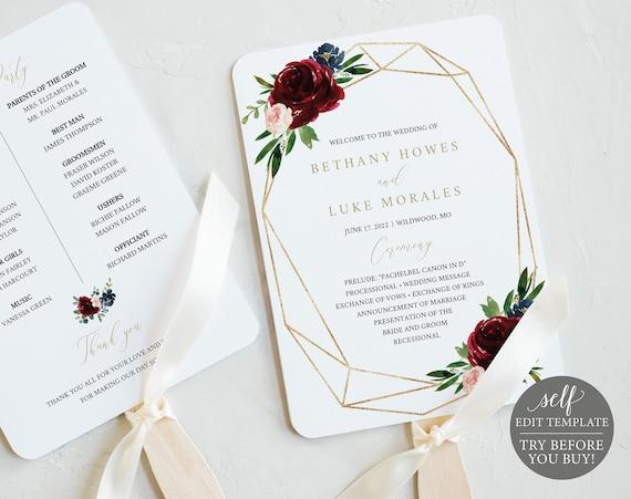 Wedding Program Fan Template, Burgundy Geometric, Printable Editable Instant Download, Demo Available