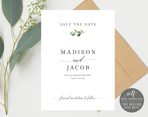 Save the Date Template, Fully Editable Printable, Instant Download, Greenery, TRY BEFORE You BUY!