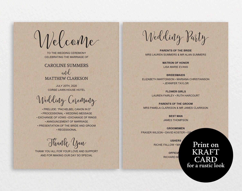 wedding program template rustic wedding program printable wedding