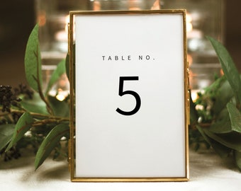 Minimalist Table Number Template, Modern Table Number Sign Printable, Templett,  Editable, Instant Download