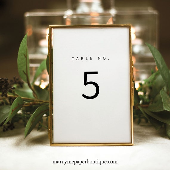 Minimalist Table Number Template, Modern Table Number Sign Printable, Templett, 100% Editable, Instant Download
