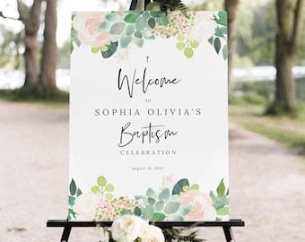 Succulent Floral Baptism Welcome Sign Template, Green & Blush, Baptism Sign Printable, Templett Editable, Instant Download