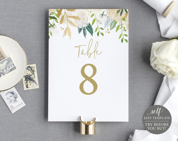 Table Number Template, 100% Editable Instant Download, White & Gold Floral, TRY BEFORE You BUY