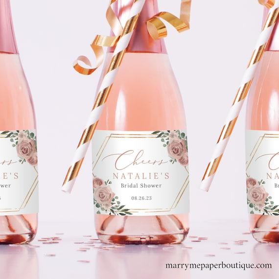 Mini Champagne Label Template, Dusky Pink Floral, Bridal Shower Champagne Bottle Label, Printable, Editable, Templett Instant Download