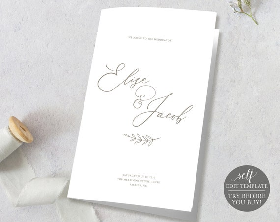 Wedding Program Template, TRY BEFORE You BUY, Ceremony Program Printable, Order of Service, 100% Editable, Instant Download, Calligraphy