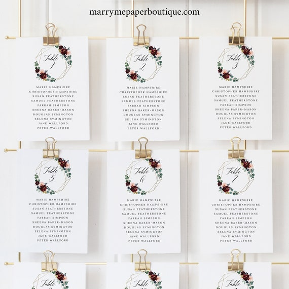 Seating Cards Template, Burgundy Floral Wedding Seating Chart Cards, Printable, Editable, Templett INSTANT Download