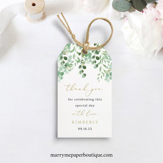 Favor Tag Template, Garden Greenery, Wedding Gift Tag Printable, Templett, Fully Editable, Instant Download