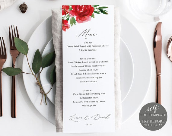Red Floral Wedding Menu Template, Free Demo Available, Editable Instant Download