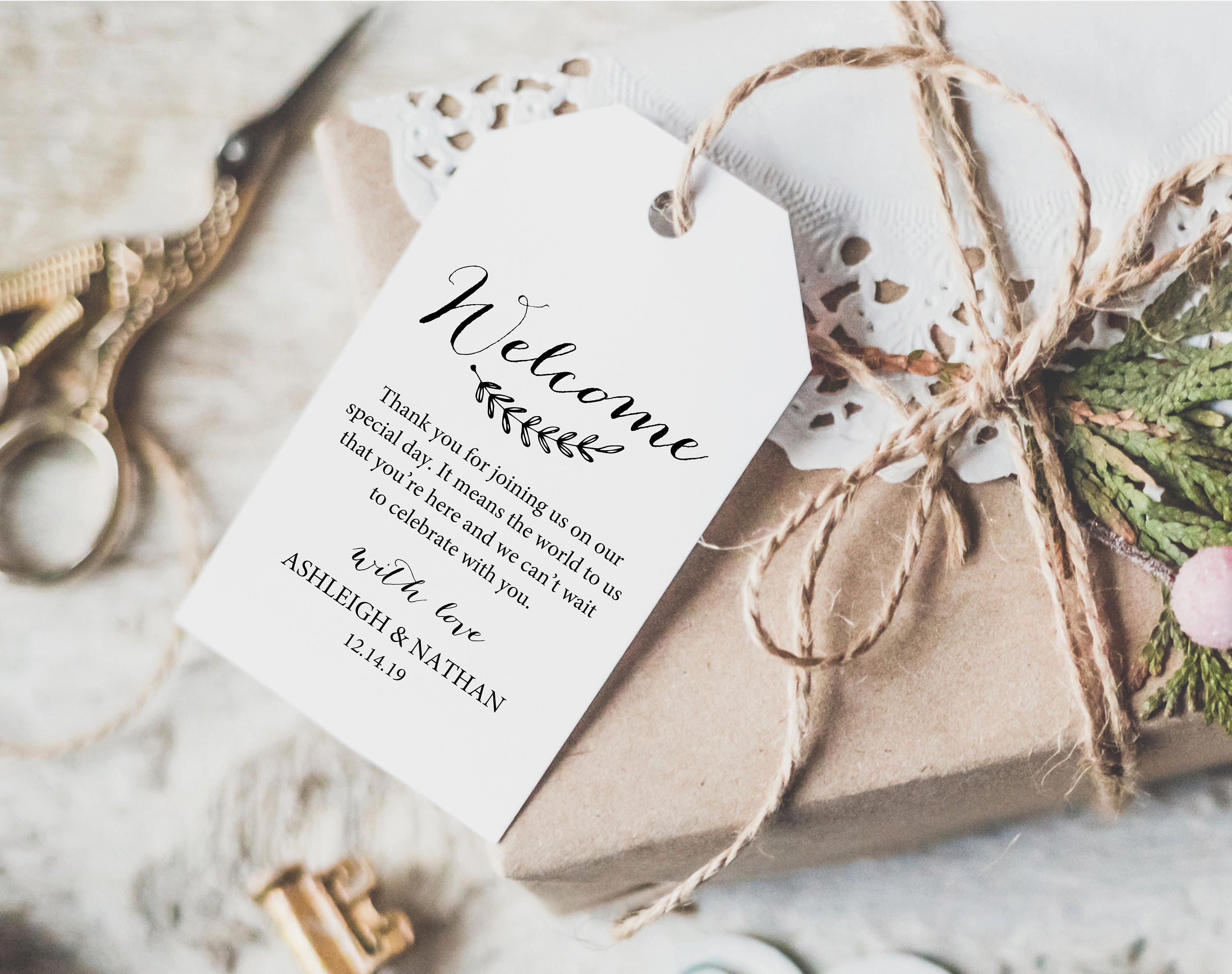 Wedding Welcome Tag Template Editable Welcome Tag Wedding Favor